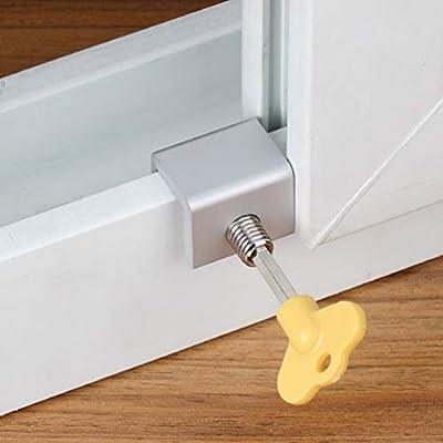DOITOOL cerraduras de ventana corredera set 6 piezas cerradura de seguridad de marco de puerta corredera ajustable con llaves: Amazon.es: Bricolaje y herramientas