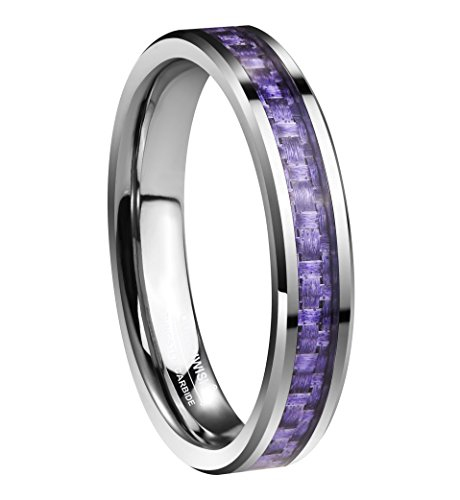 Queenwish Womens 4mm Tungsten Carbide Carbon Fiber Purple Inlay Wedding Bands Ring Comfort Fit Size 4 With Ring (Purple Titanium Ring)