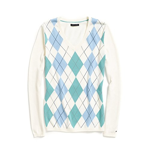(Tommy Hilfiger Women Classic Argyle Sweater (Small, White/Light Blue/Celadon))