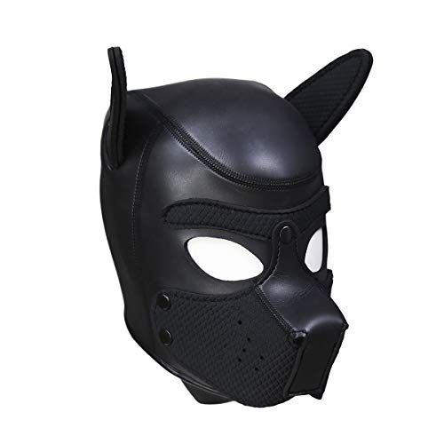 HOT TIME Neoprene Puppy Hood Custom Animal Head Mask Novelty Costume Dog Head Masks (Small, Black) ()