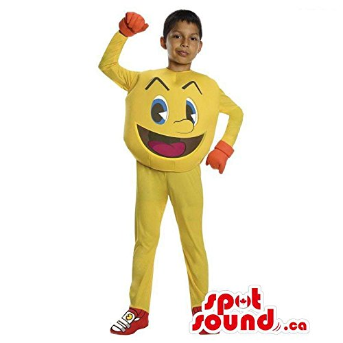 Pac Man Characters Costumes (Cool Yellow Pac Man Video Game Character Children Size Costume)