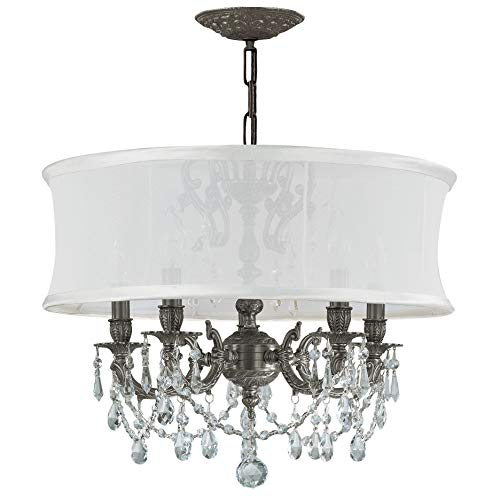 - Crystorama 5535-PW-SMW-CL-S, Brentwood Swarovski Crystal Chandelier Lighting, 5LT, 300 Watts, Pewter