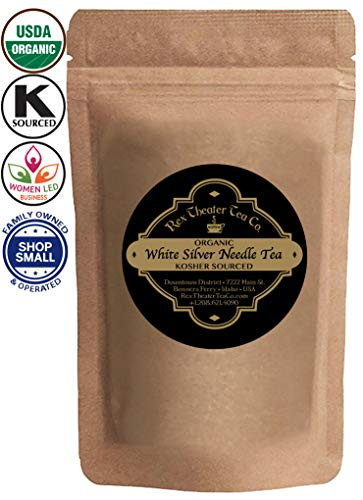 Organic White Silver Needle Tea - Loose Leaf Tea (10+ Cups) - 1oz (28g) - Resealable Bag - by Rex Theater Tea ()
