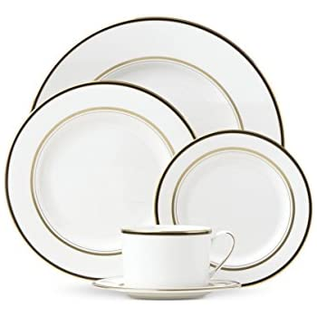 kate spade new york library lane black dinnerware 5piece place setting white bone china with gold and black