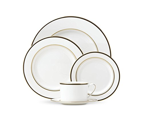 Kate Spade New York Library Lane Black Dinnerware 5-Piece Place Setting, White Bone China with Gold and ()