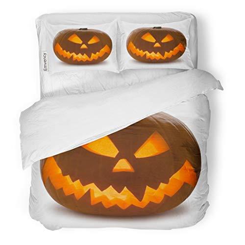 (Tarolo Bedding Duvet Cover Set Orange Carving Halloween Pumpkin Scary Jack O Lantern White Yellow Clipping Curve 3 Piece Queen 90