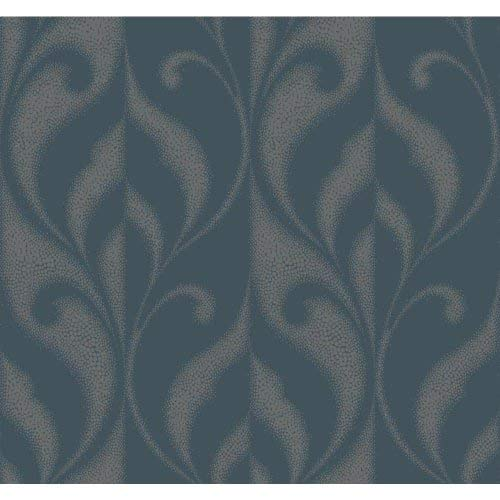 York Wallcoverings DN3703 Candice Olson Modern Luxe Paradox Wallpaper iced Teal, Rich Cream