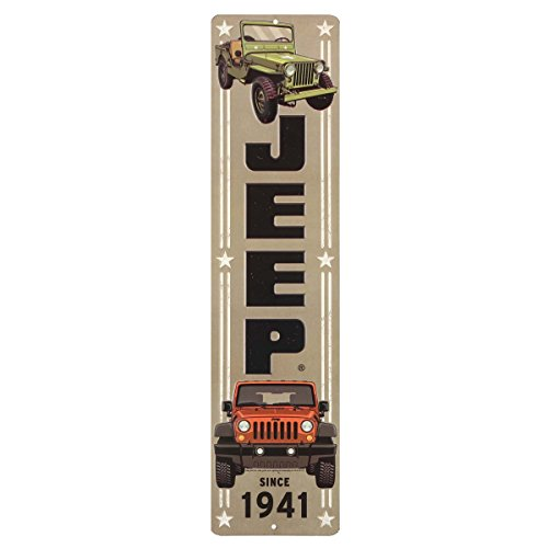 Open Road Brands Jeep Embossed Tin Vertical Sign -