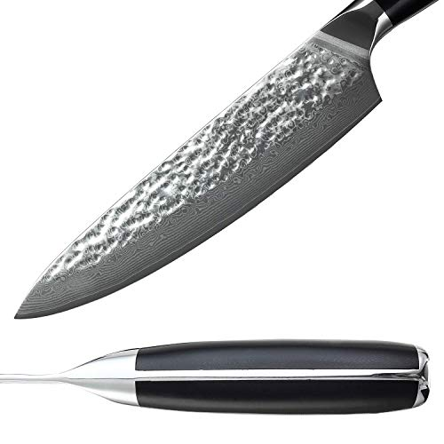 Damascus Chef Knife 8'',Lightlife Pro Kitchen Knife with 67 Layer High Carbon Stainless Steel and Ergonomic Fiberglass G10 Handle,Professional Sharp for Restaurant and Home Kitchen by Lightlife (Image #2)