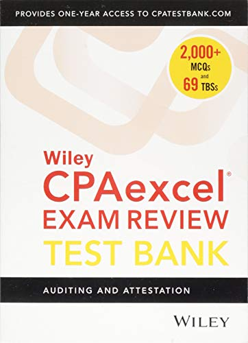 Pdf Test Preparation Wiley CPAexcel Exam Review 2019 Test Bank: Auditing and Attestation (1-year access)