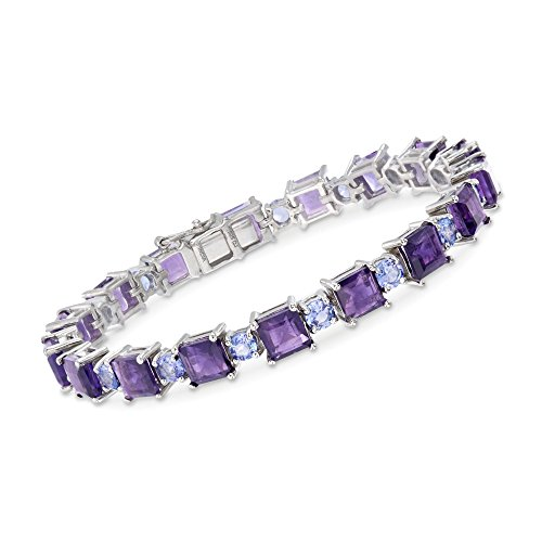 Ross-Simons 17.00 ct. t.w. Amethyst and 3.90 ct. t.w. Tanzanite Bracelet in Sterling Silver -
