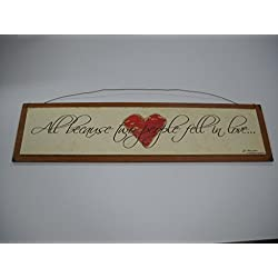 All Because Two People Fell in Love Wooden Wall Art Sign with Heart Wedding Valentines Day Marriage Anniversary Gift