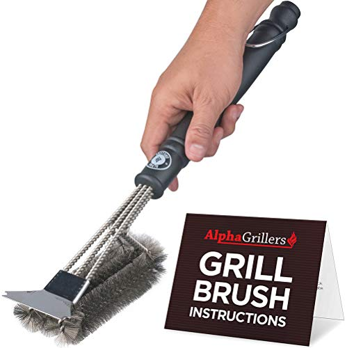 Alpha Grillers Grill Brush and Scraper. Best BBQ Cleaner. Perfect Tools for All Grill Types, Including Weber. Stainless Steel Wire Bristles and Stiff 18 Inch Handle. Ideal Barbecue - Inch 18 Brush Grill