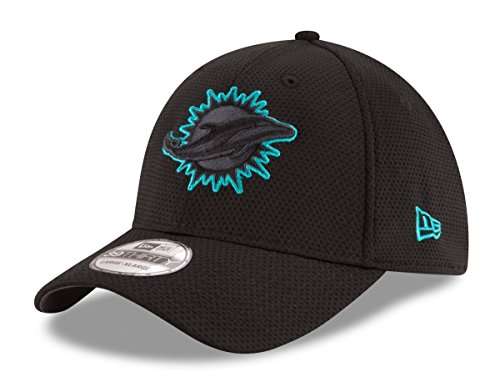 Miami Dolphins Black Tone Tech 2 39THIRTY Flex Fit Hat / Cap Medium/Large