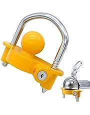 """OKLEAD Acoplador Universal Trailer Hitch Lock Segurança de armazenamento ajustável Aço resistente cabe 1-7⁄8"""" (48 mm), 2"""" (51 mm), 2-5/16"""" (59 mm) acopladores Amarelo"""