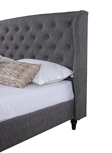 Classic Dark Grey Box-Tufted Shelter Bed Frame (Queen)