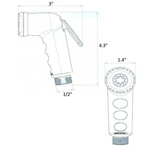 ME Handheld Toilet Bathroom ABS Bidet Diaper Shower Spray Sprayer Faucet, White 70%OFF