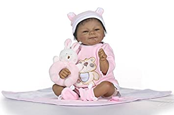 "22/"" Reborn Baby Doll Lifelike Black African American Silicone Vinyl Smile Girl"