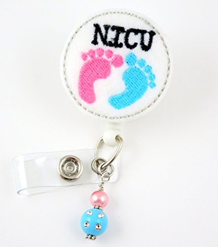 NICU Baby Feet Circle - Nurse Badge Reel - Retractable ID Badge Holder - Nurse Badge - Badge Clip - Badge Reels - Pediatric - RN - Name Badge Holder