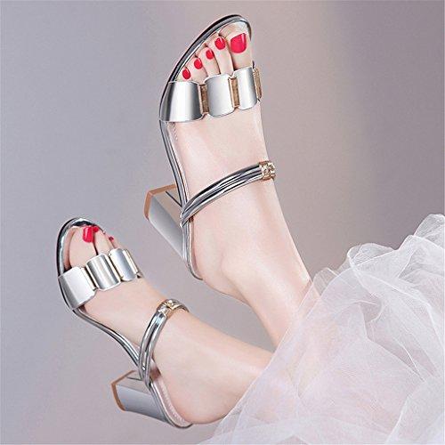 LIXIONG Portátil Sandalias ásperas femeninas del talón Los altos talones de la manera del verano refrescan, estilo del desgaste de los deslizadores dos -Zapatos de moda ( Color : B , Tamaño : 36 ) A