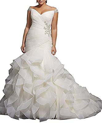 XSWPL Women's Mermaid Wedding Dresses For Bride Cap Sleeve Beaded Bridal Gown