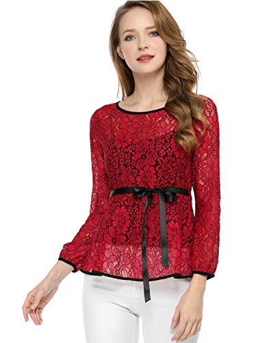 - Allegra K Women's Tie Waist Formal Long Sleeve Semi Sheer Lace Peplum Top Red M (US 10)