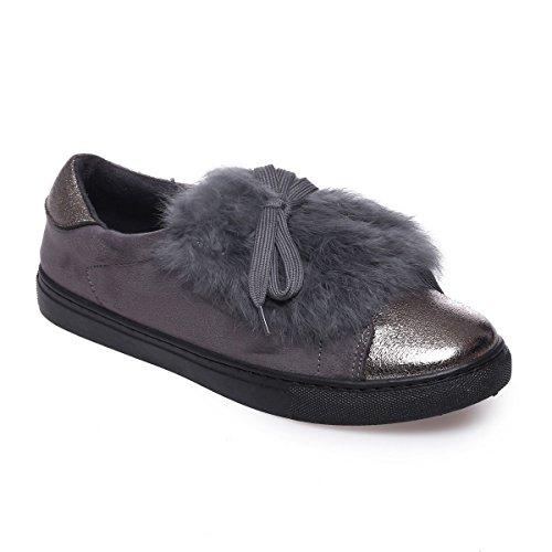 La Modeuse - Zapatillas de deporte para mujer gris