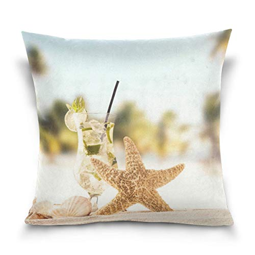 - TOGEFRIEND Summer Beach Drink Shells Decorative Square Throw Pillow Covers Cases Home Décor Bed Sofa Couch Car 18 x 18 inch