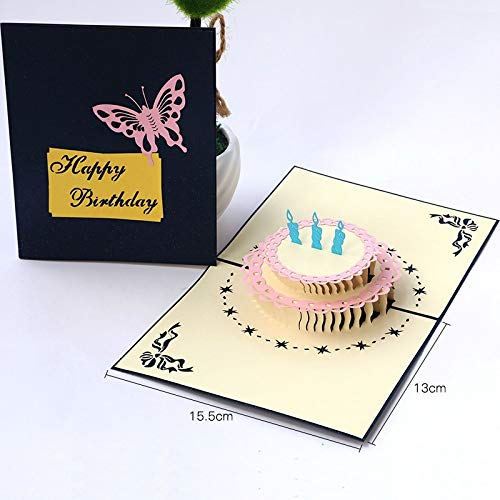 Happy Birthday Postcard Greeting Gift Cards Blank Paper 3D Handmade Pop Up Laser Cut Vintage Invitations Custom with -