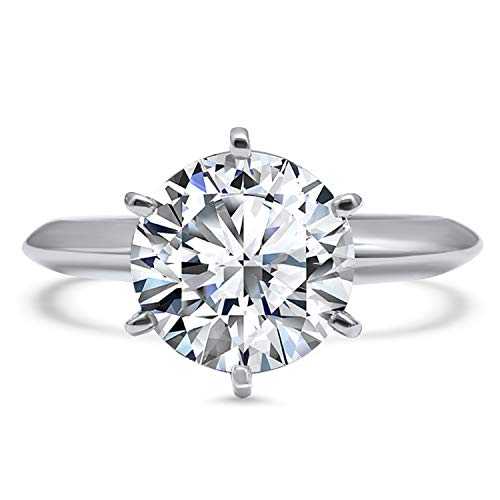 2 Carat 8mm round Forever ONE moissanite solitaire engagement ring 14k white gold 6 prong