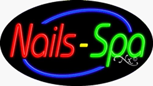 17x30x3 inches Nails & Spa Flashing ON/OFF NEON Advertising Window Sign by Light Master (Image #1)