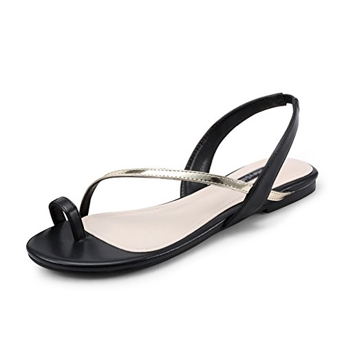 Sandals ZCJB Summer Women's Shoes Flat Shoes Strap Shoes Pearl Herringbone Beach Shoes Flat Heel (Color : Pink, Size : 37) Black