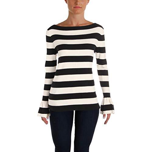 - LAUREN RALPH LAUREN Womens Rib Knit Bell Sleeve Pullover Sweater Black-Ivory L
