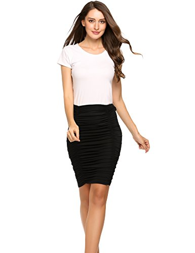 Zeagoo Women's High Waist Band Bodycon Career Office Midi Pencil Skirt,Y-black,Large (Ruched Pencil Skirt Back)