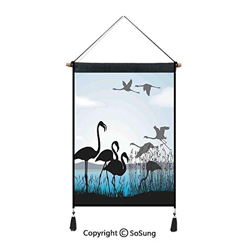(SoSung Flamingo Tapestry Wall Hanging,Flamingo Silhouettes Walking Flying Waterfront and The River Reed Bed,Home Art Decor Beautiful Apartment Dorm Room Decoration,17.7