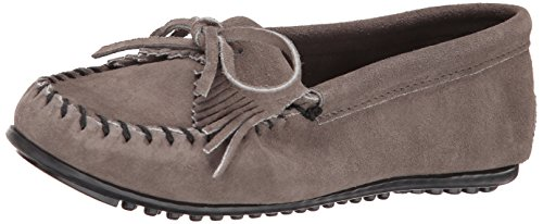 Kilty Suede Moc - Minnetonka Women's Kilty Suede Moc Medium Grey Suede Flat 11 W