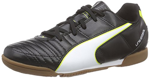 Puma Universal II IT Jr, Unisex-Kinder Hallenschuhe, Schwarz (black-white-sulphur spring 03), 35 EU (2.5 Kinder UK)