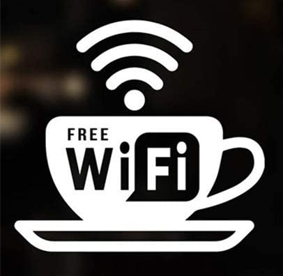 Amazon Com Yttbuy Wifi Sign Free Wifi Vinyl Sticker Decal Free Wifi Sign Modern White Informative Internet Sign For Store Front Restaurant Business Building Shop Indoor Outdoor Home Kitchen
