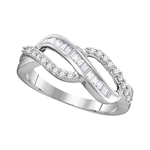 Diamond Fashion Band Solid 10k White Gold Cocktail Ring Infinity Style Round Baguette Fancy 1/4 ctw by GemApex