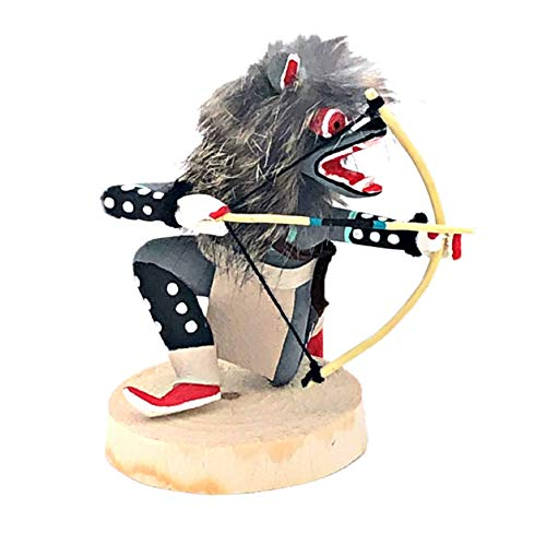 Artist Collectible Dolls - 6 Inch Authentic Crouching Grey Wolf Kachina Doll, Genuine Navajo Native American Tribe Handmade in the USA, Artist Signed, Natural Materials, Southwestern Collectible Figurine