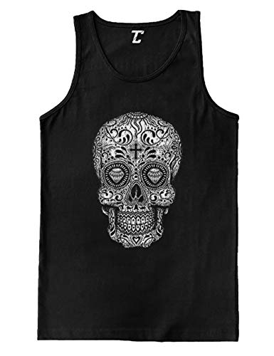 Sugar Skull Cross - Religious Day of The Dead Men's Tank Top (Black, -