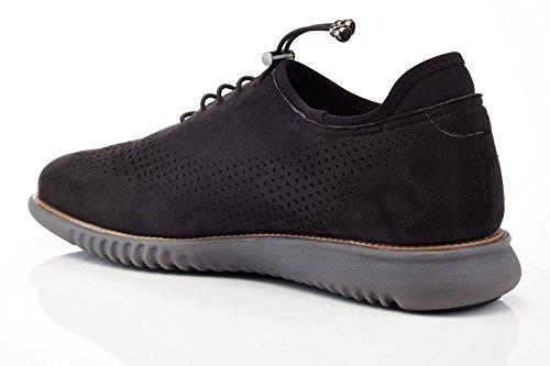 Solo Mens Graham Tillfällig Perforerad Mode Oxford Sneaker Svart Mocka