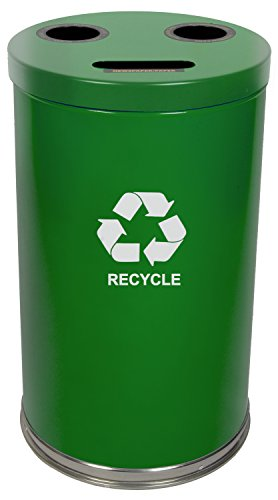 Witt Industries 18RTGN Steel 33-Gallon 3 Opening Recycling Container with 3 Plastic Liners, Legend ''Recycle'', Round, 18'' Diameter x 33'' Height, Green by Witt Industries