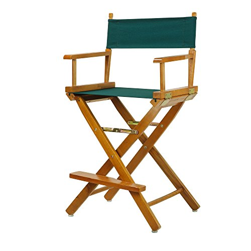 Casual Home 24 Director s Chair Honey Oak Frame-with Hunter Green Canvas, Counter Height
