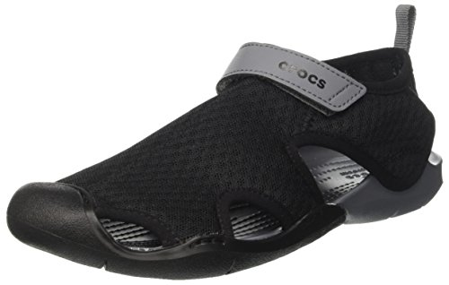 Crocs Women's Swiftwater Mesh W Flat Sandal, Black, 9 M US