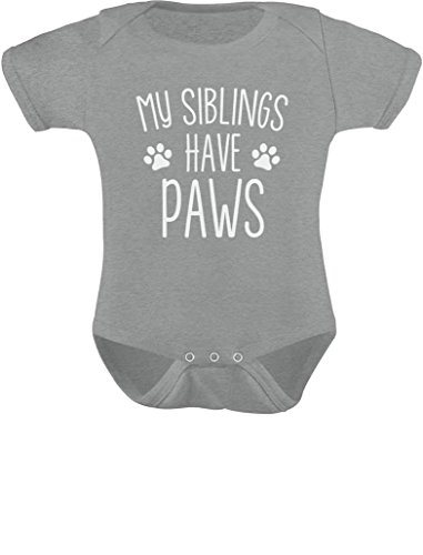 TeeStars - My Siblings Have Paws Funny One-Piece Infant Baby Bodysuit 6M Gray