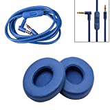 DSstyles Replacement Ear Pads Cushion+ Audio Cable Cord for Beats by Dr Dre Solo 2 Wired Earphone Blue