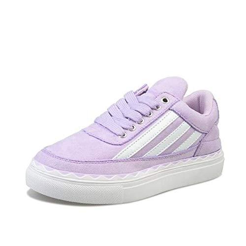 Sneakers Piel pie del de de Gamuza Heel Gray de Vaca Dedo Comfort Mujer ZHZNVX púrpura Gris Rosa Primavera Cerrado Zapatos Verano Flat aBqPTnI