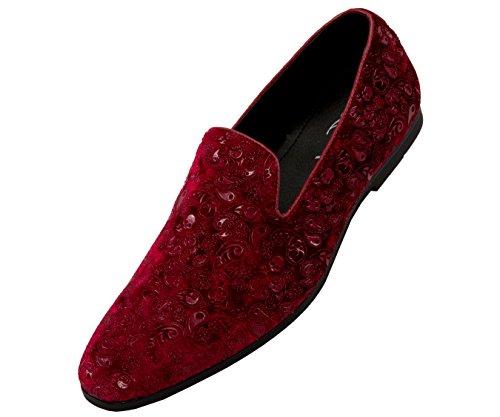 Amali Mens Paisley Velvet Smoking Slipper Loafer Dress Shoes, Style Metta