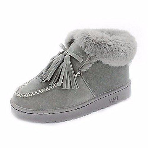 D'automne Gris Neige Bout Femmes Cachemire Eu39 Vert 5 Chaussures pour Bottes Cn40 Uk6 Gris en ZHUDJ Occasionnel Talon 5 pour Plat De Us8 Tassel Noir Rond Bottes wY70cq